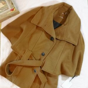 NWT CK Belted Cape Wool Coat Size 4